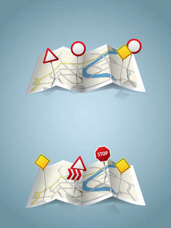 City map with road signs Vector