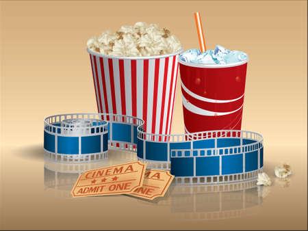 palomitas de maiz: Palomitas de ma�z, refrescos y entradas de cine con cinta de pel�cula Vectores