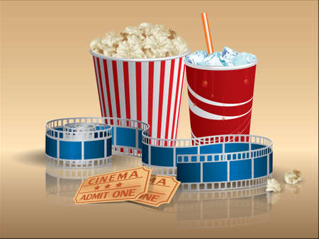 theater audience: Popcorn, soda and movie tickets with filmstrip Illustration