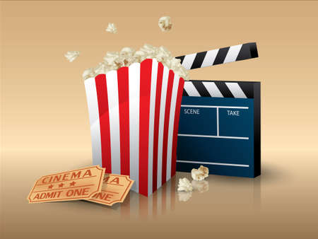 movie clapper: Popcorn and movie tickets with clapper board