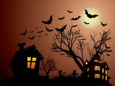 Halloween with haunted house, bats and cats Stock Vector - 15805389