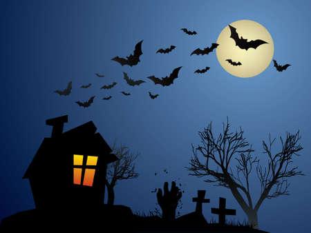 luna caricatura: Mano del zombi sale de su tumba