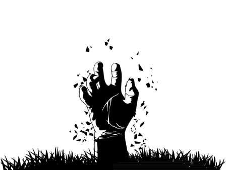 Mano del zombi que sale de la tumba Ilustración de vector