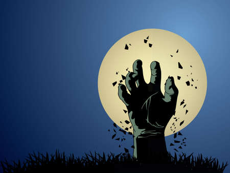 Zombie hand coming out from grave