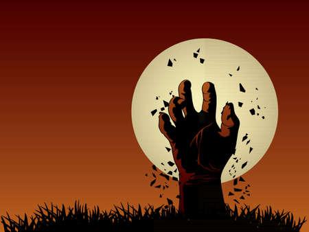 tombes: Zombie hand sortir de la tombe Illustration