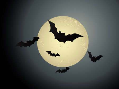 Flying bats in Halloween night Vector