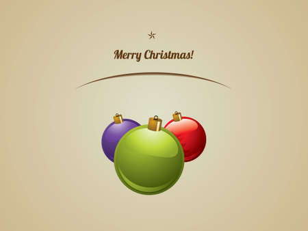 glimpse: Christmas shiny baubles postcard Illustration