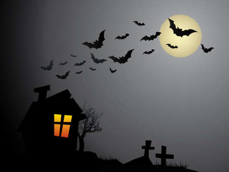 Creepy Old Halloween Haunted House Vector