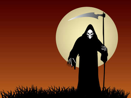 life and death: Grim Reaper Illustration