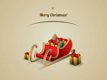 Santa sleigh with Gifts Stock Vector - 15900658