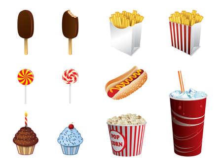 soda pop: Fast food icons Illustration