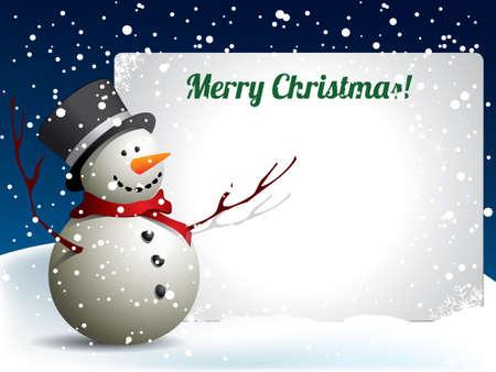 Christmas postcard with snowman