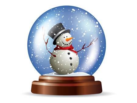 snowdome: Snowglobe with snowman Illustration