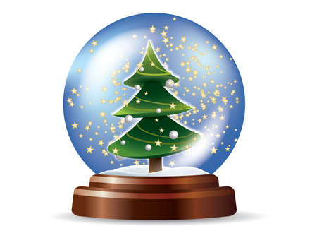 golden globe: Snowglobe with Christmas tree
