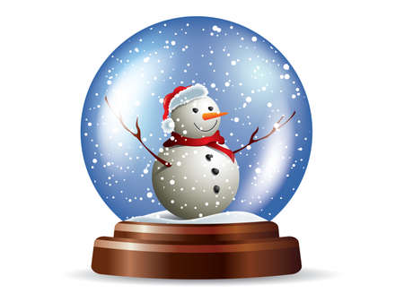 golden globe: Snowglobe with snowman Illustration