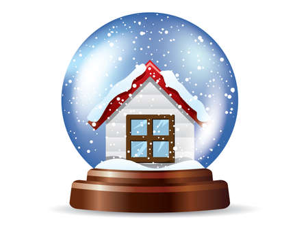 Snowglobe with a lonely house Vector