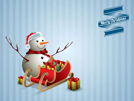 Snowman and sleigh postcard Vector