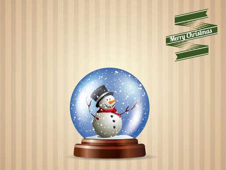christmas snow globe: Snow globe with snowman postcard design