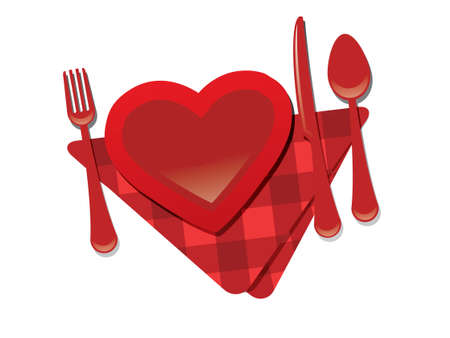 Fork, heart, knife - valentine's day restaurant  Stock Vector - 17071031