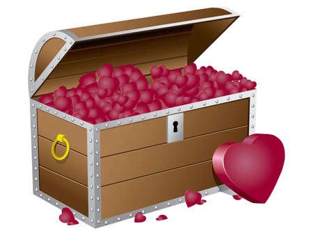 Valentine's day chest wiht hearts Stock Vector - 17071033