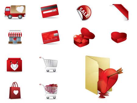 ecomerce: Valenintes day Shopping icons set Illustration