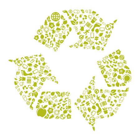 Green recycle icon Stock Vector - 17607350