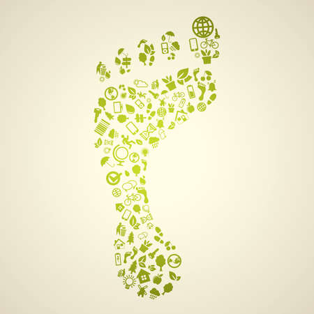 save energy icons: Green footprint Illustration