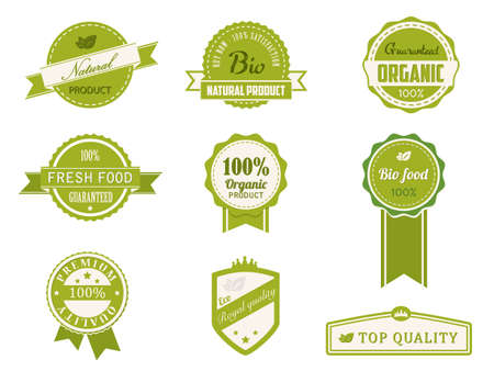 Eco Vintage Labels Bio template set Vector