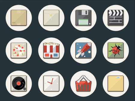 Flat Icons for Web and Mobile Applications Stock Vector - 19838560