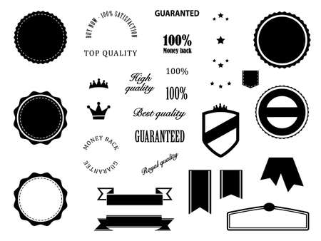 Retro Premium Quality and Guarantee badges elements Vector