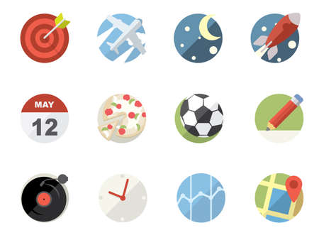 Rounded  Flat Icons for Web and Mobile Applications Stock Vector - 20323547