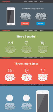 One page flat website template Vector