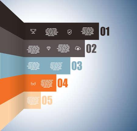 上昇グラフ番号  イラスト・ベクター素材