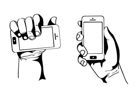 Hand holding the phone Stock Vector - 21302717
