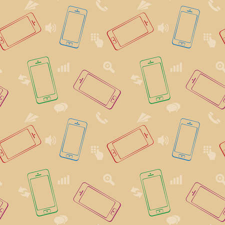 Mobile Devices, Smartphone, Seamless Pattern Background Vector