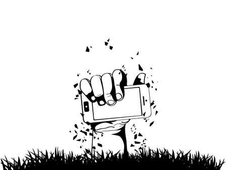 Zombie Hand holding the phone illustration Illustration
