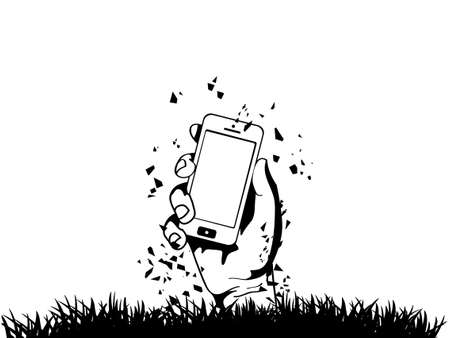 Zombie Hand holding the phone illustration Stock Vector - 21302734