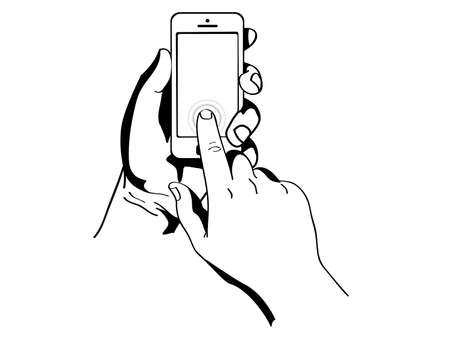 hands are holding and pointing on Smart Phone Stock Vector - 21441506