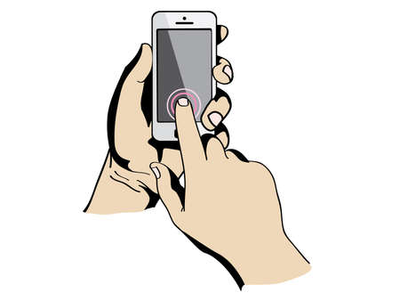 swipe: hands are holding and pointing on Smart Phone