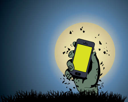 Zombie Hand holding the phone in Moonlight Stock Vector - 21419746