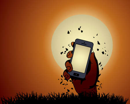 Zombie Hand holding the phone in Moonlight Stock Vector - 21419699