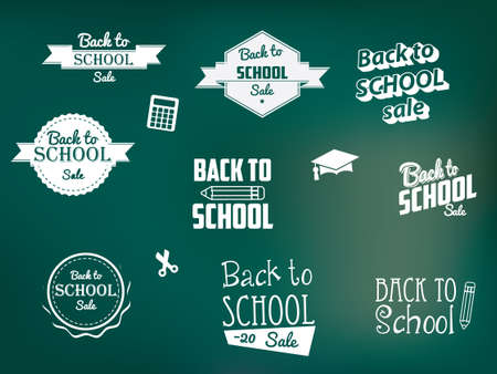 Back to School Retro Style Elements Vector