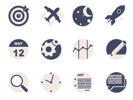Rounded  Flat Icons for Web and Mobile Applications Vector