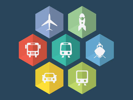 Flat design transport icons in editable Vector