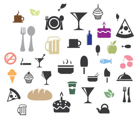 lobster pots: vector food icons