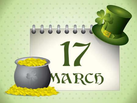 St.Patricks Day calendar background Vector