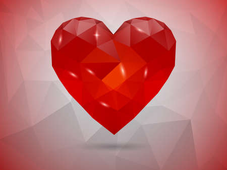 Low-poly Abstract Polygonal heart. Love symbol Vector