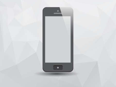 Illustration of Smartphone on Low Poly Triangle Background Vector