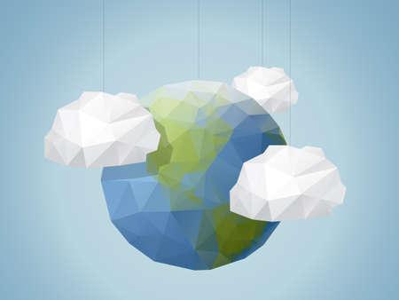 折り紙スタイル世界背景  イラスト・ベクター素材