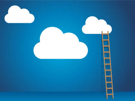 Cloud services with cloud and ladder Vector